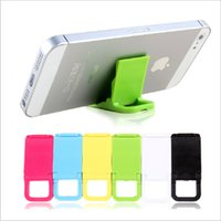 Wholesale Mini Plastic Mounting - wholesale Candy Color Cell Phone Holder Bracket Mini Plastic Folding Dual Lazy Support Mobile Phone Mounts Universal Bracket