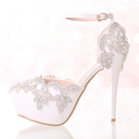 Wholesale Diamond Crystal High Heel Shoes - Hot White Diamond Wedding Shoes High Heels Wristband Waterproof Shoes with Fine Crystal Bride Dress Shoes