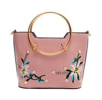Wholesale Circle Sequin Applique - Beautiful package the new ms 2017 embroidery circle single shoulder his youth recreational single embroidered handbags