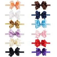 Wholesale Kids Hair Ruffles - Ruffle Baby Toddler Headband With Hair Bow For Sale Double Stacked Bows Elastic Hair Band For Kid
