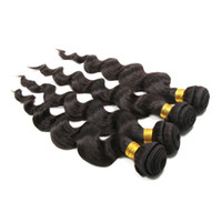Wholesale Remi Indian Wavy Hair - Loose Wave Remi Human Hair Weaves 9A Unprocessed Indian Virgin Hair Extensions Natural Color #1b 5 Bundles Hair Weft Wavy Wefts