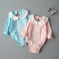 Wholesale One Piece Baby Doll - New 2017 Baby Jumpsuits Romoers Princess One-piece Newborn Climb Clothes Girls Rompers Toddler Bodysuit Lace Cotton Doll Collar A6251
