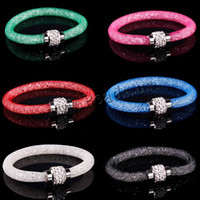 Wholesale Magnetic Stone Price - Wholesale- cheap price! Mesh Bracelets With Crystal stones Filled Magnetic Clasp Charm Bracelets Bangles 9 color