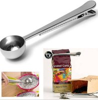 Wholesale ground iron - Clip Coffee Spoon Silver Stainless Steel Ground Coffee Tea Measuring Scoop Spoon With Bag Seal Clip