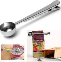 kahve için ölçme kaşığı toptan satış-Klip Kahve Kaşığı Gümüş Paslanmaz Çelik Zemin Kahve Çay Çanta Mühür Klip Ile Scoop Kaşık Ölçme