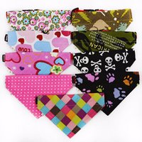 Wholesale Canvas Basic - 20Pcs Cute Lovely Pet Dog Canvas Scarf Collar Adjustable Puppy Triangle Bandana High Quality Pet Cat Tie Collar XS-XL