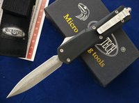 Wholesale Wholesale Damascus Steel - Microtech A07 Combat troodon double action knives Damascus BladeA162 A161 Camping survival knives via Fedex