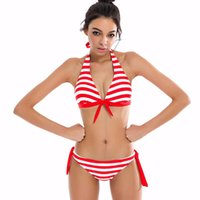 Wholesale Brazillian Swimwear - 2017 Sexy Bikinis Women Swimsuit Swimwear Halter Top Plaid Brazillian Bikini Set Bathing Suit Summer Beach Wear Biquini