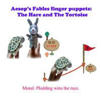 Wholesale Plush Fairies - Wholesale-Aesop's fables, Tortoise and Hare story   world of fairy tales Finger Puppet Plush Toys Cartoon Biological Child Baby Favor Doll