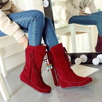 Wholesale National Trend Boots - 2016 winter knee-high snow boots female national trend tassel heel flat thermal plus size winter boots free shipping
