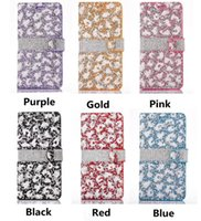 Wholesale Diamond Leather Flip Phone Cover - Newest Bling Rhinestone Cases Full Diamond Phone Wallet PU Flip Leather Cover Case for iPhone 6 6S 6s plus 7 7plus