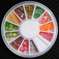 Wholesale 3d Nail Art Fruit - 3D Polymer Clay Tiny Fimo Fruit Slices Wheel Nail Art DIY Designs Wheel Nail Art Decorations Wholesale Cool Nails Beauty Gift