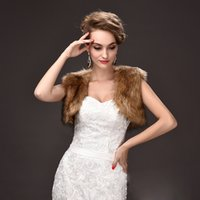 Wholesale Winter Jacket Sale For Women - Stock Brown Faux Fur Short Jackets For Winter Special Occasions Sleeves Cheap Women Wedding Wraps 2018 Online Sale