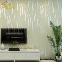 Wholesale Environmental Murals - Wholesale- Environmental Pollution Protection Non-woven Wallpaper 3D Wave Stripe Flocking Embossed Removable Mica Wall Paper Mural 0.53*10M