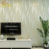 welle wand tapete großhandel-Wholesale- Umweltverschmutzung Schutz nichtgewebte Tapete 3D-Wellen-Streifen-Beflockung Geprägte Removable Mica-Wand-Papier Mural 0.53 * 10M
