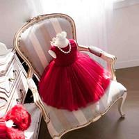 cor da jóia vestidos menina flor venda por atacado-Em estoque flor menina vestidos jóia bola vestido tornozelo comprimento volta zipper sem mangas imagem cor vermelho