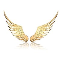 Wholesale Factory Emblems - 3D Angel Wings Emblem Badge Car Stickers high quality Alloy Metal Styling Golden Sliver Factory Direct free shipping 10pcs lot