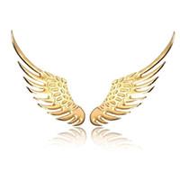 ingrosso badge angeli-Il metallo della lega di alta qualità degli autoadesivi dell'automobile dell'emblema dei distintivi delle ali di angelo 3D che disegna il trasporto dorato diretto della fabbrica del nastro dorato 10pcs / lot