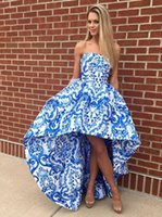Wholesale Hi Low Printed Prom Dresses - 2017 New Ivory Blue Printed hi low prom homecoming dress for juniors Strapless Prom Dress High Low A Long Gown