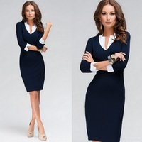 Wholesale Works Bell - 2017 Spring Autumn New Female Casual Sexy V-neck OL Office Ladies Silm Pencil Dresses Three Quarter Women Dresses Size 2XL