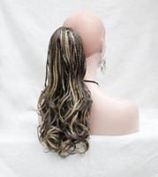 hermoso cabello tejido al por mayor-Envío gratis hermoso encantador caliente nueva moda caliente mano tejida marrón con jengibre resaltar largo trenzado cola de caballo Clip de extensión