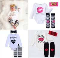 Wholesale Wholesale Headbands Leggings - ins Boys Girls Baby Rompers Clothing Sets 100% Cotton Newborn Romper Leggings Sequined Headbands Set Spring Autumn Toddler Onesies Suits