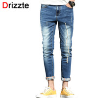 Wholesale Boys Cuffed Jeans - Wholesale- Drizzte Ankle Jeans Men Ripped Distress Stretch Denim Slim Fit Cuffed Jeans for Men Soft Comfort Jean Trousers Pants for Boy