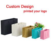 Wholesale Paper Advertisement - Wholesale- wholesale 1000pcs lot custom printing logo gift paper bags shopping bags jewellery bags for advertisement