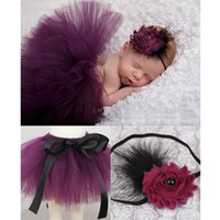 Wholesale Newborn Baby Photography Sets - 7 colors Newborns Baby bowknot lace tutu dress 2pc set flower headband+tutu skirt infants photo photography props costumes suits for 0-3T