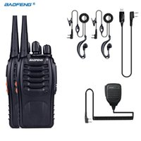 Wholesale Baofeng Radio Mic - Wholesale- 2 PCS Baofeng BF-888S Walkie Talkie 5W Handheld Pofung bf 888s UHF 400-470MHz 16CH Two-way Portable CB Radio +MIC+USB Cable