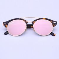 Wholesale pink girl glasses for sale - new arrival sunglasses women brand designer mirror club round sunglasses for men carfia mm glasses with original box