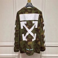 Wholesale Military Style Clothing Women - OFF WHITE Hoodies Military Style Men And Women Hoodies Causal Hip Hop Camouflage Long Sleeve Classic Printing Sweatshirts Men's Clothing