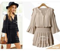 Wholesale Half Slim Size - New Women Summer Chiffon Short Dress Off Shoulder Slim Elastic Waist Half Flare Sleeve Middle Dress QN9006