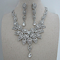 Wholesale Earings Necklace Sets - 2016 Jewelry Sets Silver Color Evening Dress Accessories Wedding Rhinestones Necklace Wedding Accessories for Bride with earings