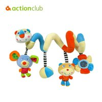 Wholesale baby toy mirrors - Wholesale- Actionclub Plush baby toy multifunctional newborn infant mobile baby rattles baby stroller toys hanging kid toys mirror