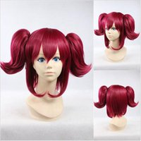 black butler shop - Hot Japan Anime Black Butler Mey Rin Wine Red Cosplay Wig Clip on Ponytails free shopping