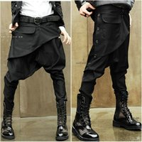 Wholesale Pants Baggies - Wholesale-Autumn and winter skinny pants harem pants male low-rise pants baggies male boot cut jeans personality trend of the male
