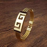 Wholesale Golden Woven Bracelet - Woven hemp rope titanium steel MEN golden bracelet