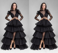 Wholesale Waist High Low Prom Dress - 2017 Sexy Black Illusion Formal Evening Dresses Ruffle Tulle High Low High Neck Long Sleeve Waist Cut Prom Evening Gowns Dresses Evening Wea