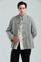 traditionellen stand großhandel-Shanghai Story Men Chinesische Tunika Anzug Top Herren Stehkragen Jacke Zhongshan Anzug Mischung Woolen Chinese Traditional Top Grey