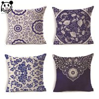 Wholesale PEIYUAN New Design Blue and White Porcelain Custom Printing Polyester Square Cushion Cover
