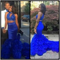 Wholesale Cheap Ladies Formal Wear - 2018 Sexy Lace Two Piece Royal Blue Mermaid Prom Dresses Long Halter Lace Appliques Beaded Ladies Party Gowns Cheap Formal Evening Wear