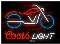 Wholesale Coors Bar Signs - New Motorcycle coors handicrafted real glass tube Neon Light Beer Lager Bar Pub Sign Frame Size 17*13