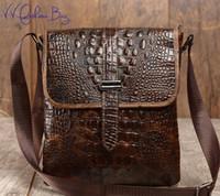 Wholesale Pocket Tablet - Wholesale- First Cow Skin 100% Genuine Leather Bag For Men Crocodile Style Men's Business Messenge Bag Tablet PC handbag