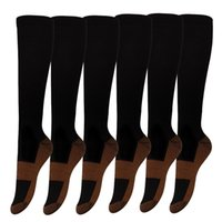 Wholesale Knee Support Pair - 1 Pairs Copper Knee High Compression Support Socks For Women and Men - Best Medical Nursing Maternity Pregnancy and Travel Socks - 15-20mm