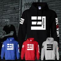 Wholesale Women S Hooded Thickening Fleece - Men Women Autumn Winter Printing Letter Eminem Thicken Fleece Sleeve Hooded Sweatshirts Eminem Rap Music Hip-hop Warm Down Coat Jacket