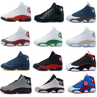 Wholesale Red Suede Trainers - Wholesale Famous Trainers 13 XIII hot air retro 13 Hologram Mens womens Sports Basketball Shoes Barons (white black grey teal)