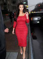 Wholesale Kim Kardashian Long Sleeve Dresses - Red Lace Long Sleeves Evening Dresses Vestidos de Festa Tea Length Square Neckline Kim Kardashian Gowns Sexy Sheath Celebrity Prom Gowns