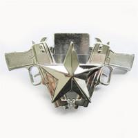 бренд мужчины светлее оптовых-Пряжка пояса для мужчин Новый Яркий Серебряный Guns Star Lighter Пряжка для ремня Boucle de ceinture BUCKLE-LT018BR Новый