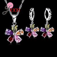 Wholesale Hoop Pendant Necklace - PATICO Five Petaled Flowers Shining Colorful CZ Crystal Pendant Jewelry Sets Gift 925 Sterling Necklace Dangle Hoop Earring Sets